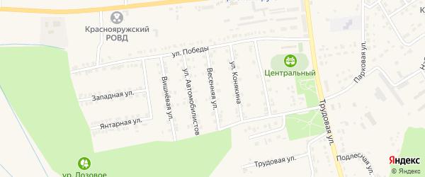 Весенняя улица на карте поселка Красной Яруги с номерами домов
