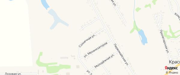 Солнечная улица на карте поселка Красной Яруги с номерами домов