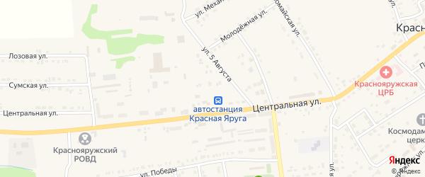 Улица 5 Августа на карте поселка Красной Яруги с номерами домов