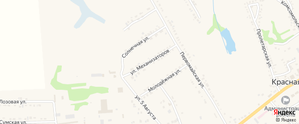Улица Механизаторов на карте поселка Красной Яруги с номерами домов