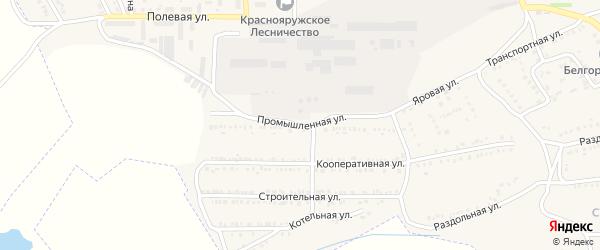 Промышленная улица на карте поселка Красной Яруги с номерами домов