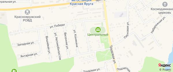 Спортивная улица на карте поселка Красной Яруги с номерами домов