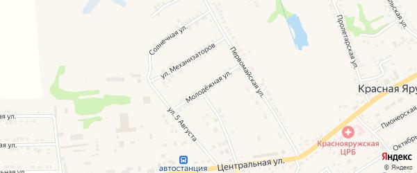 Молодежная улица на карте поселка Красной Яруги с номерами домов