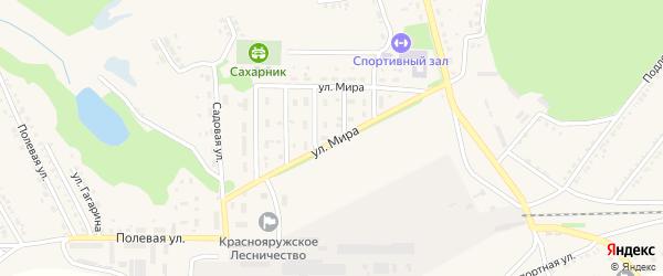 Улица Мира на карте поселка Красной Яруги с номерами домов