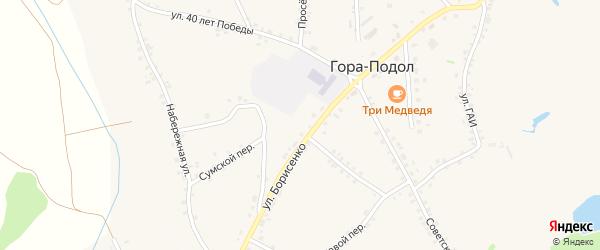 Улица 65-летия Победы на карте села Горы-Подол с номерами домов