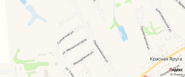 Первомайская улица на карте поселка Красной Яруги с номерами домов