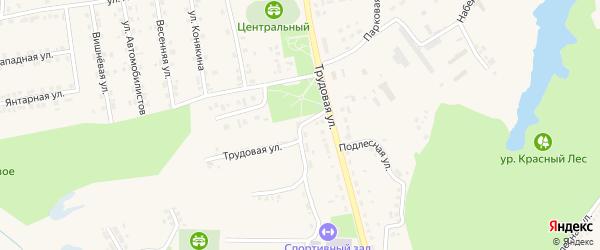 Трудовая улица на карте поселка Красной Яруги с номерами домов
