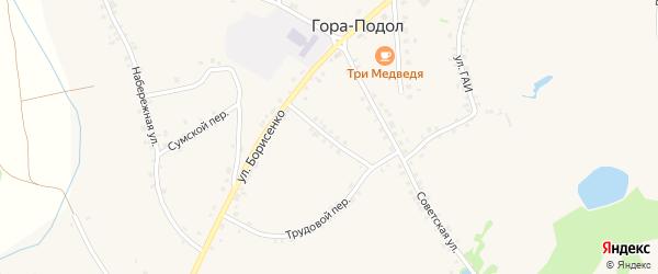 Первомайская улица на карте села Горы-Подол с номерами домов