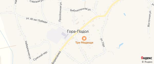 Улица Борисенко на карте села Горы-Подол с номерами домов