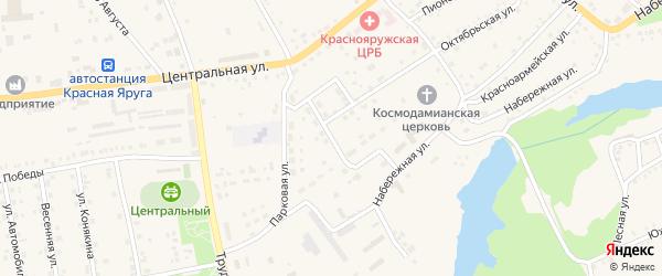Парковая улица на карте поселка Красной Яруги с номерами домов