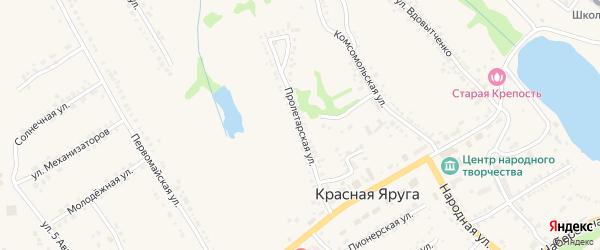 Пролетарская улица на карте поселка Красной Яруги с номерами домов