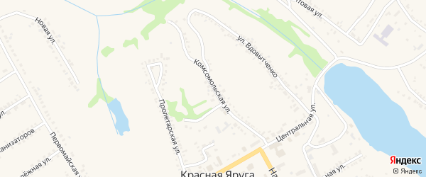 Комсомольская улица на карте поселка Красной Яруги с номерами домов