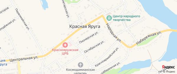 Пионерская улица на карте поселка Красной Яруги с номерами домов