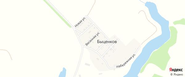 Весенняя улица на карте поселка Быценкова с номерами домов