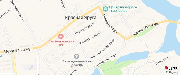 Октябрьская улица на карте поселка Красной Яруги с номерами домов