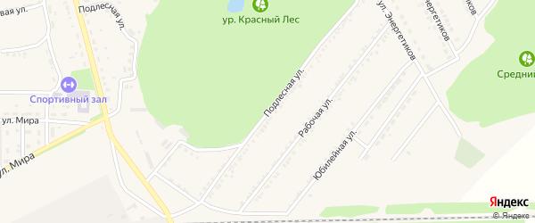 Подлесная улица на карте поселка Красной Яруги с номерами домов