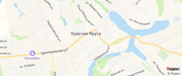 Карта поселка Красной Яруги в Белгородской области с улицами и номерами домов