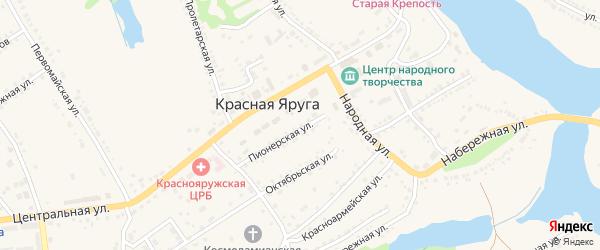 Красная улица на карте поселка Красной Яруги с номерами домов