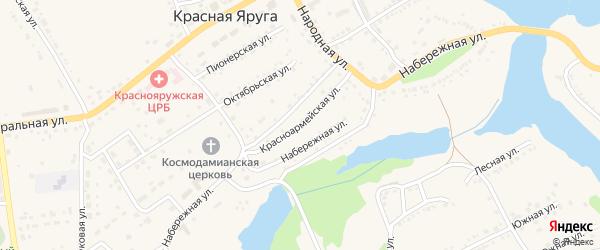 Красноармейская улица на карте поселка Красной Яруги с номерами домов