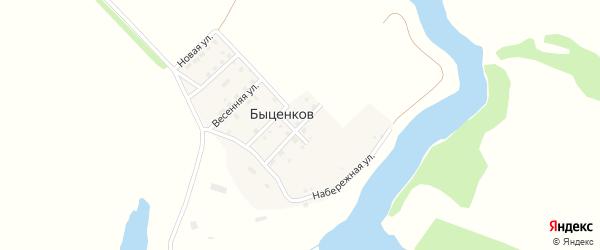 Садовая улица на карте поселка Быценкова с номерами домов