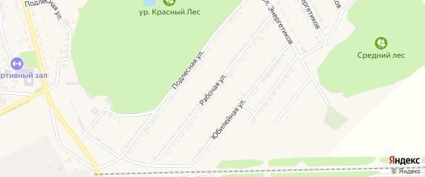 Рабочая улица на карте поселка Красной Яруги с номерами домов