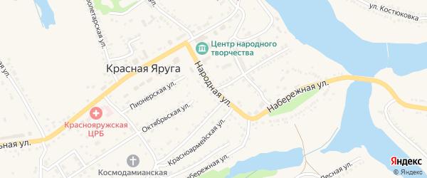 Народная улица на карте поселка Красной Яруги с номерами домов