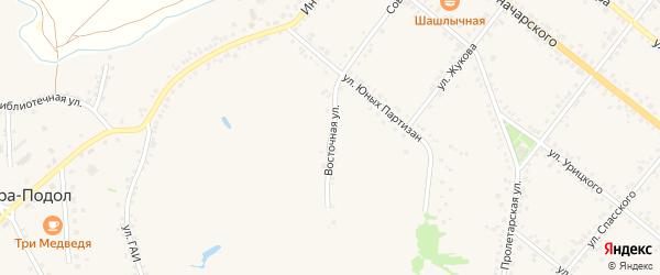 Восточная улица на карте села Горы-Подол с номерами домов