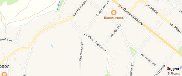 Улица Юных Партизан на карте села Горы-Подол с номерами домов