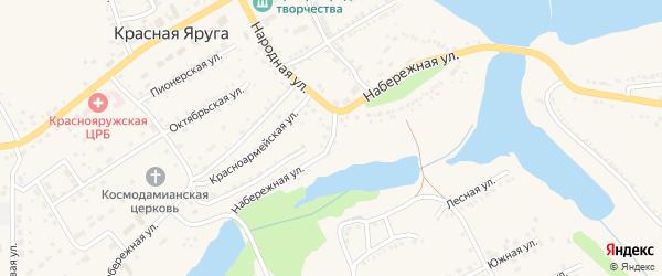Набережная улица на карте поселка Красной Яруги с номерами домов