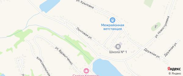 Почтовая улица на карте поселка Красной Яруги с номерами домов