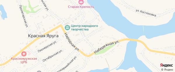 Школьная улица на карте поселка Красной Яруги с номерами домов