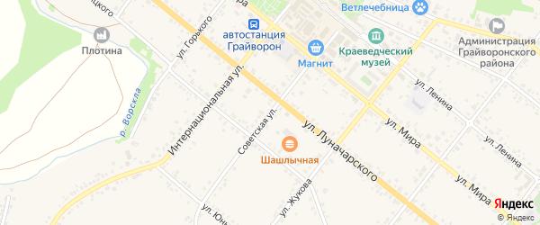 Советская улица на карте Грайворона с номерами домов
