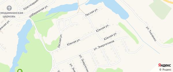 Южная улица на карте поселка Красной Яруги с номерами домов