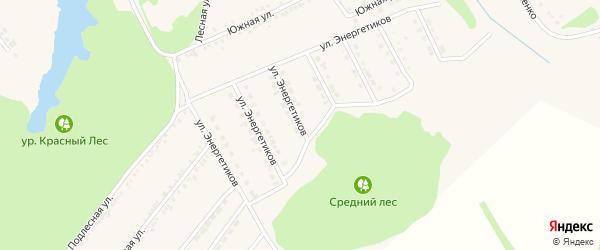 Улица Энергетиков на карте поселка Красной Яруги с номерами домов