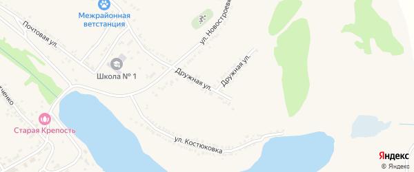 Дружная улица на карте поселка Красной Яруги с номерами домов
