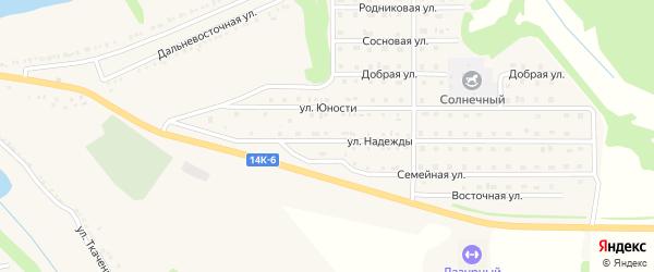 Улица Надежды на карте поселка Красной Яруги с номерами домов