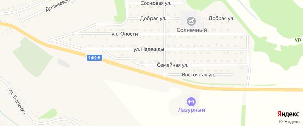 Семейная улица на карте поселка Красной Яруги с номерами домов