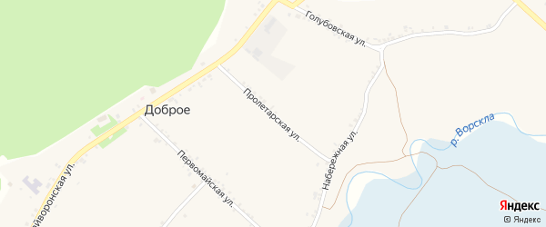 Пролетарская улица на карте Доброго села с номерами домов