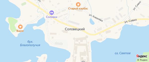 Улица Набережная бухты Благополучия на карте Соловецкого поселка с номерами домов