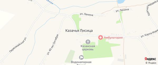Красногвардейская улица на карте села Казачьей Лисицы с номерами домов