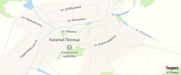 Карта села Казачьей Лисицы в Белгородской области с улицами и номерами домов