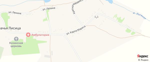 Улица Карла Маркса на карте села Казачьей Лисицы с номерами домов