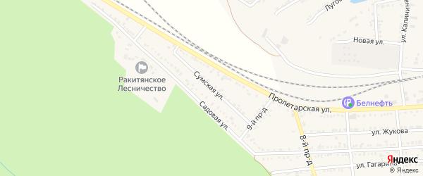 Сумская улица на карте Пролетарского поселка с номерами домов