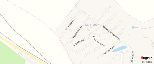 Народная улица на карте Пролетарского поселка с номерами домов