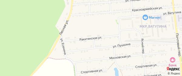 Ракитянская улица на карте Пролетарского поселка с номерами домов