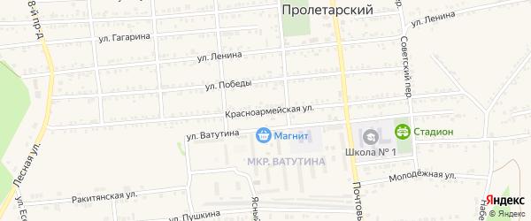 Красноармейская улица на карте Пролетарского поселка с номерами домов