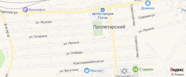 Школьный переулок на карте Пролетарского поселка с номерами домов