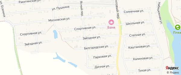 Звездная улица на карте Пролетарского поселка с номерами домов