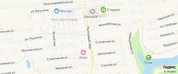 Почтовый переулок на карте Пролетарского поселка с номерами домов
