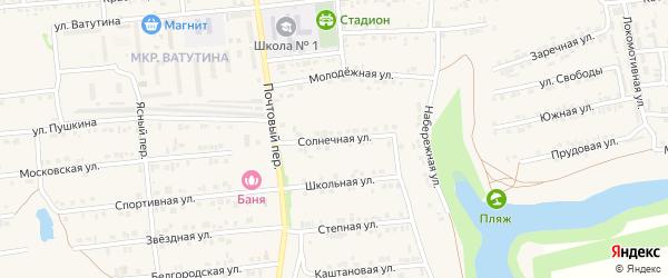 Солнечная улица на карте Пролетарского поселка с номерами домов
